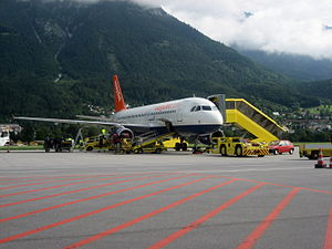 An easyJet A320, G-TTOC, prepares for departur...